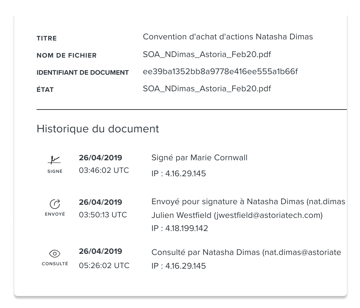 Capture d'écran de la section Historique d'un document HelloSign