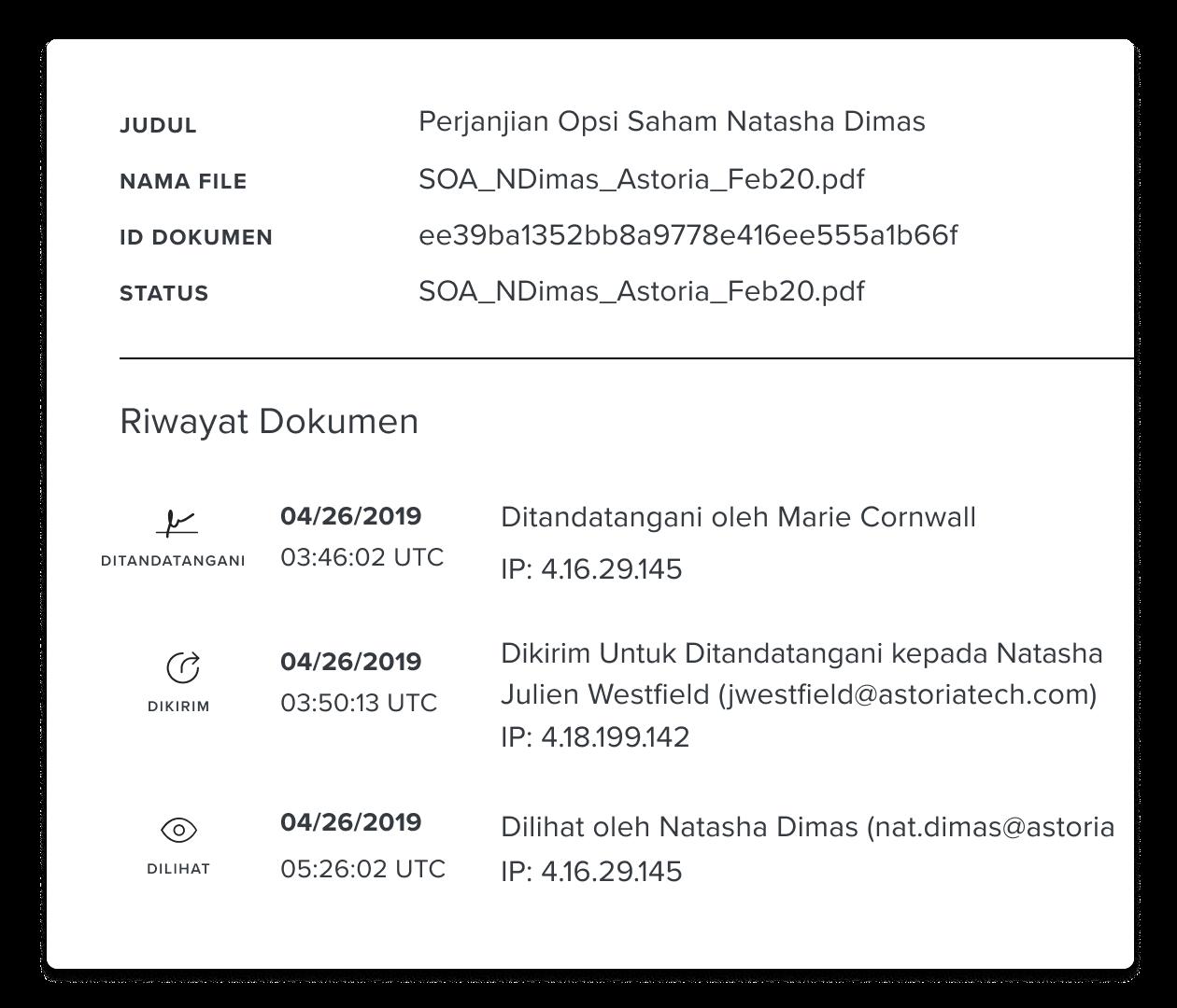 Tangkapan layar bagian riwayat dokumen HelloSign