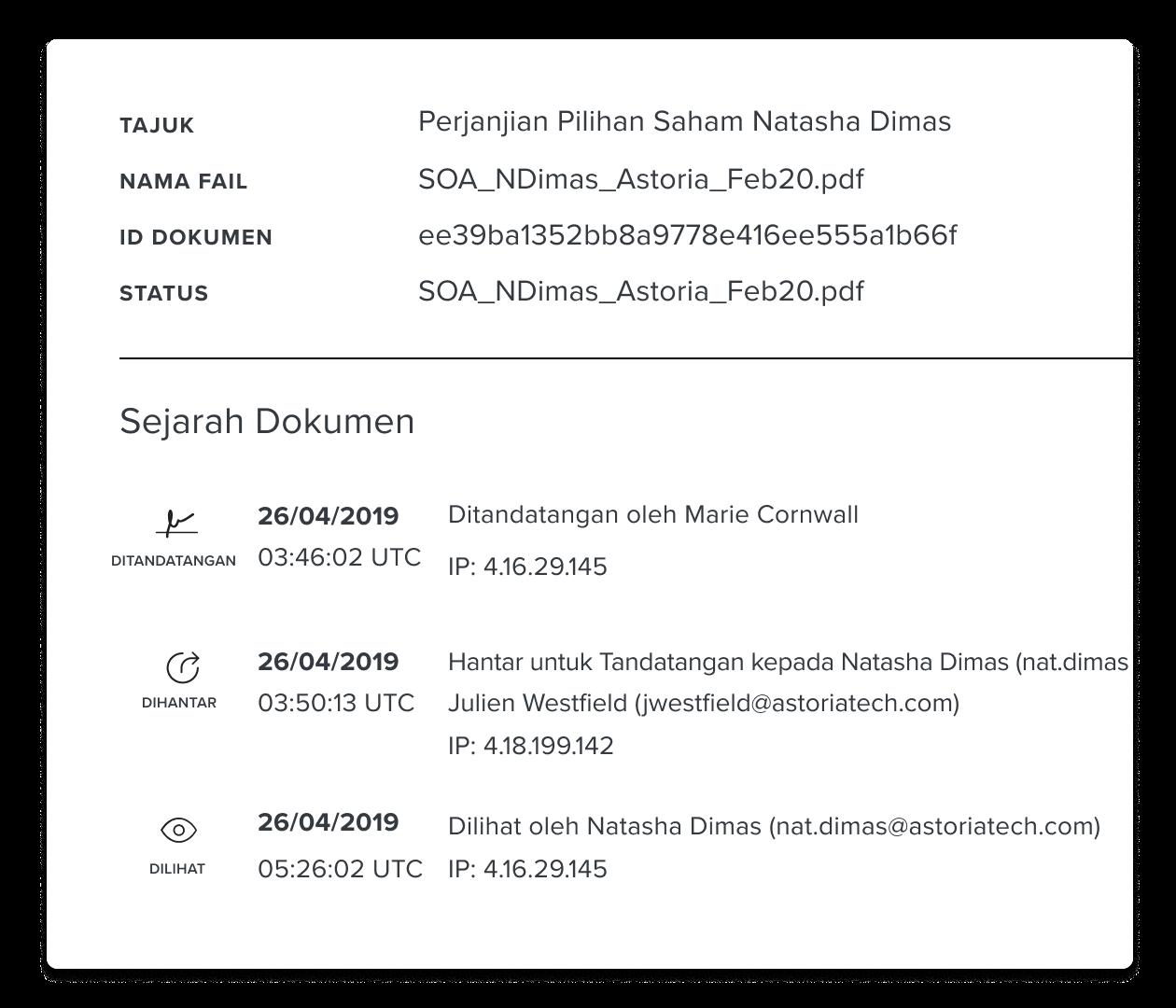 Tangkapan skrin bahagian sejarah dokumen HelloSign