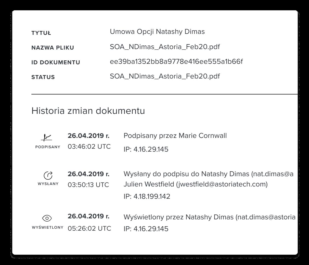 Zrzut ekranu przedstawiający sekcję historii dokumentu w HelloSign