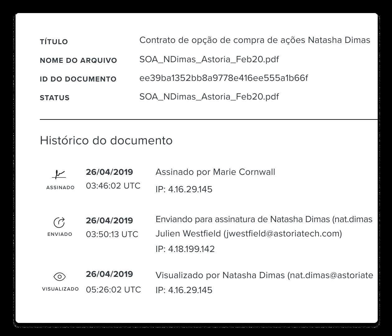 Captura de tela da trilha de auditoria de documentos do HelloSign