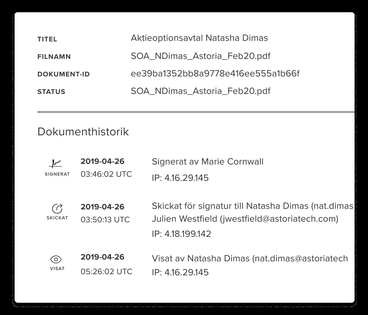 Skärmbild av en HelloSign-granskningslogg