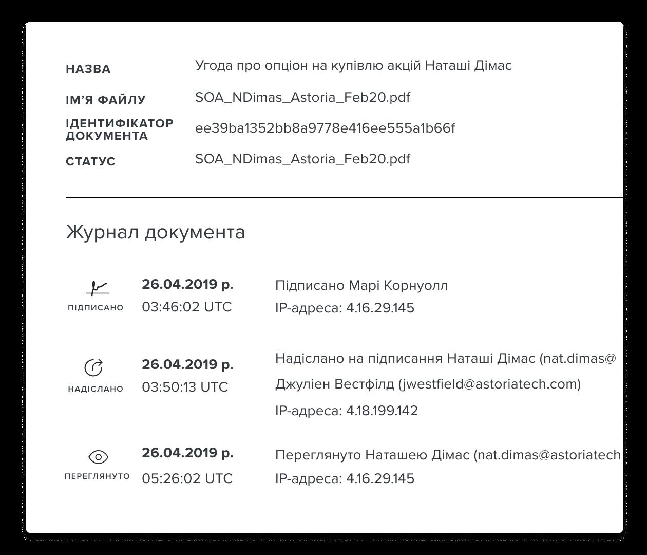 Скріншот контрольного журналу документів HelloSign