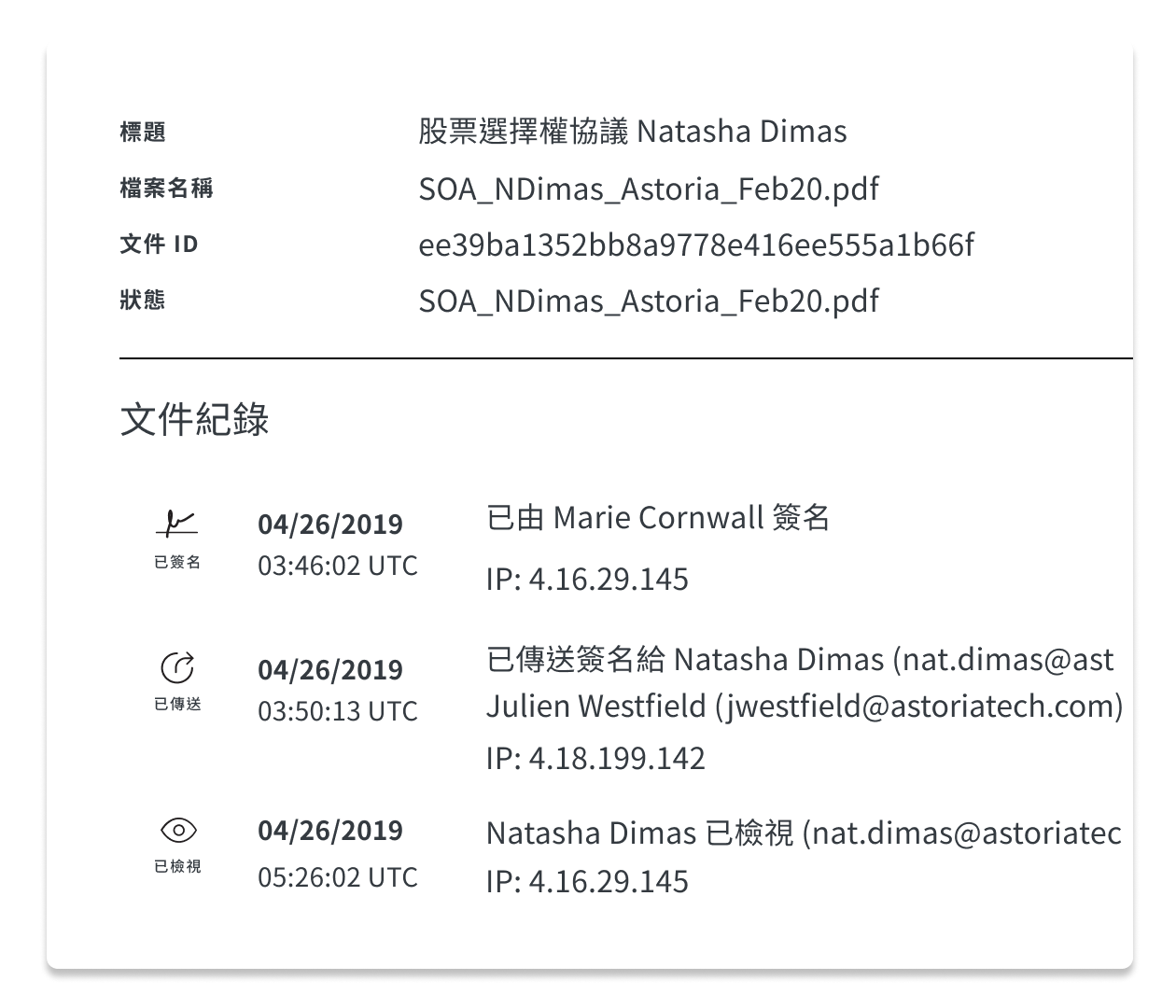 HelloSign 文件稽核紀錄的螢幕截圖