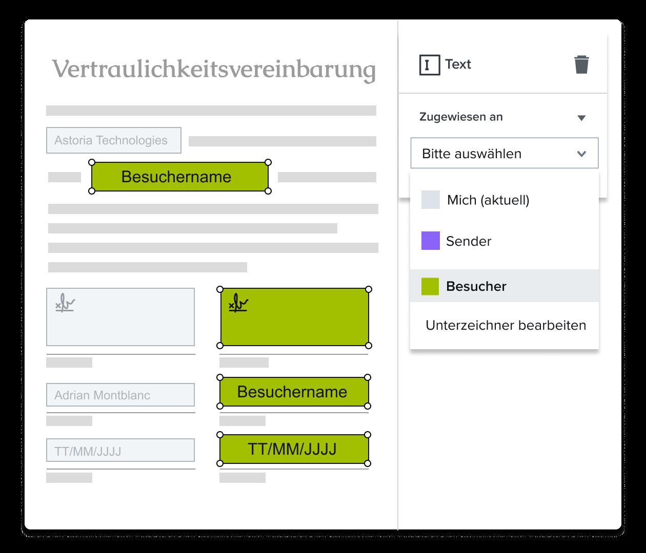 Screenshot zur Zuweisung eines Signaturfelds im HelloSign-Vorlageneditor