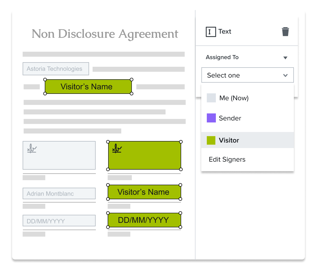 Screenshot of signature field being assigned in HelloSign template editor