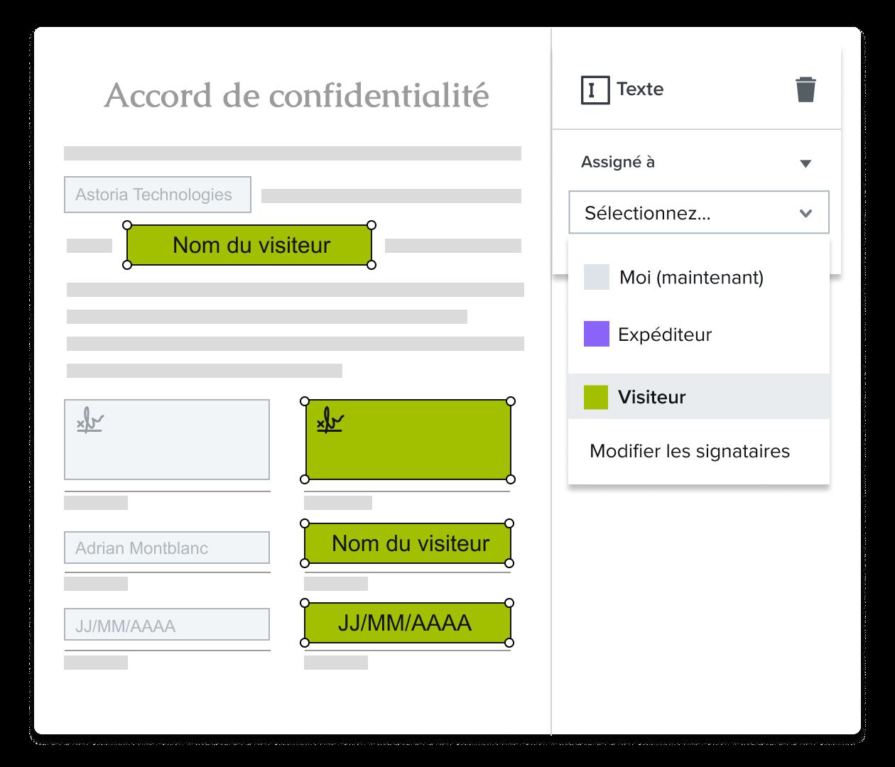 Capture d'écran du champ de signature en cours d'attribution dans l'éditeur de modèles HelloSign