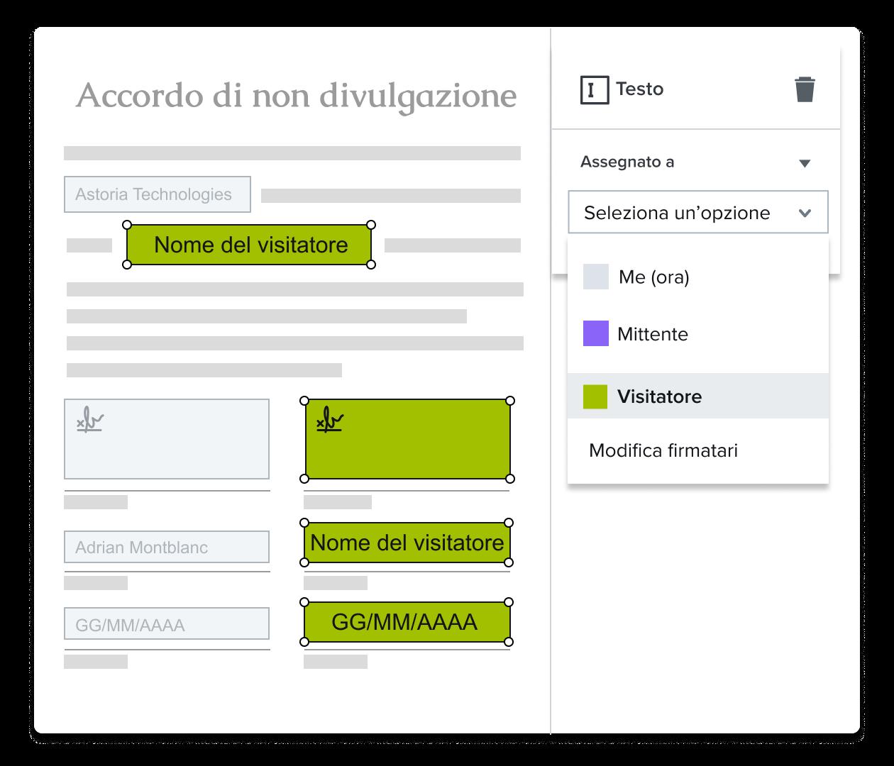 Screenshot di un utente che assegna una firma in HelloSign