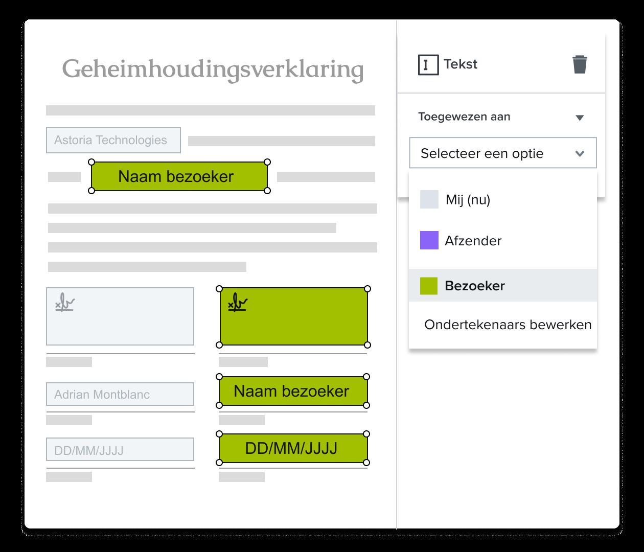 Een screenshot van een gebruiker die een handtekening toewijst in HelloSign