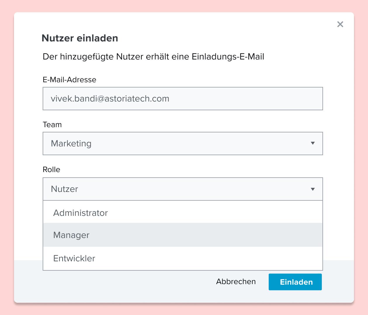 Screenshot zur Einladung eines Nutzers zu einem HelloSign-Dokument mit Zuweisung einer Rolle