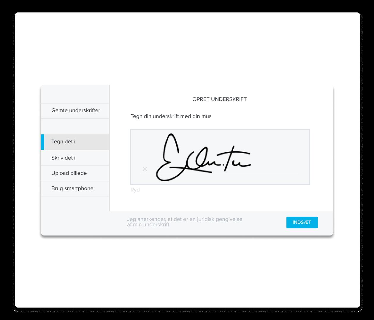 Et skærmbillede af HelloSign opret underskrift-oplevelsen