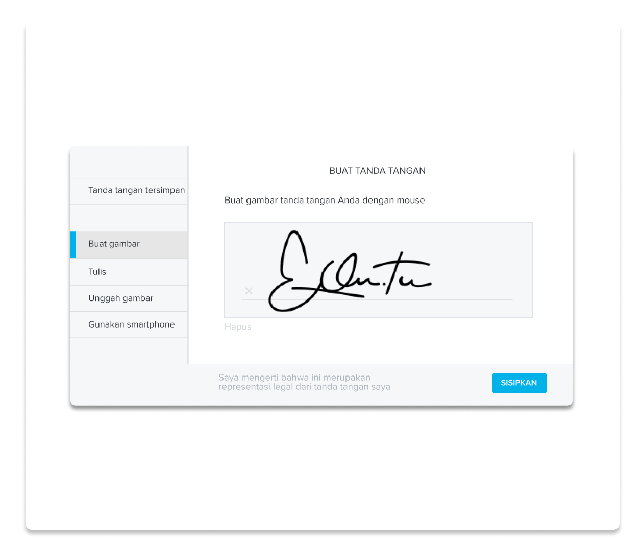 Tangkapan layar pengalaman pembuatan tanda tangan di HelloSign