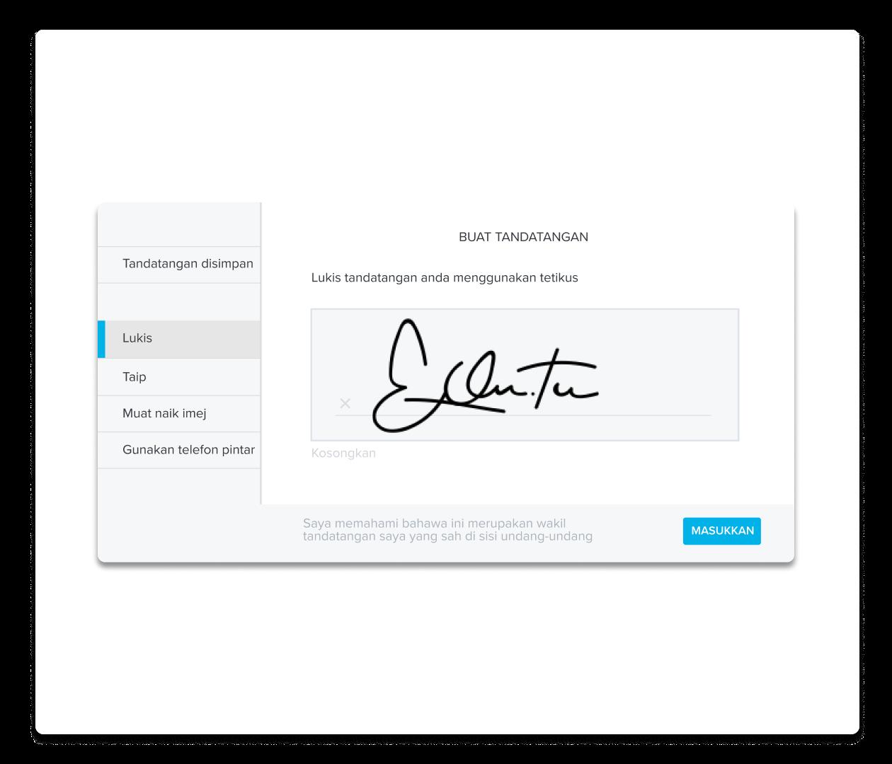 Tangkapan skrin pengalaman mencipta tandatangan HelloSign