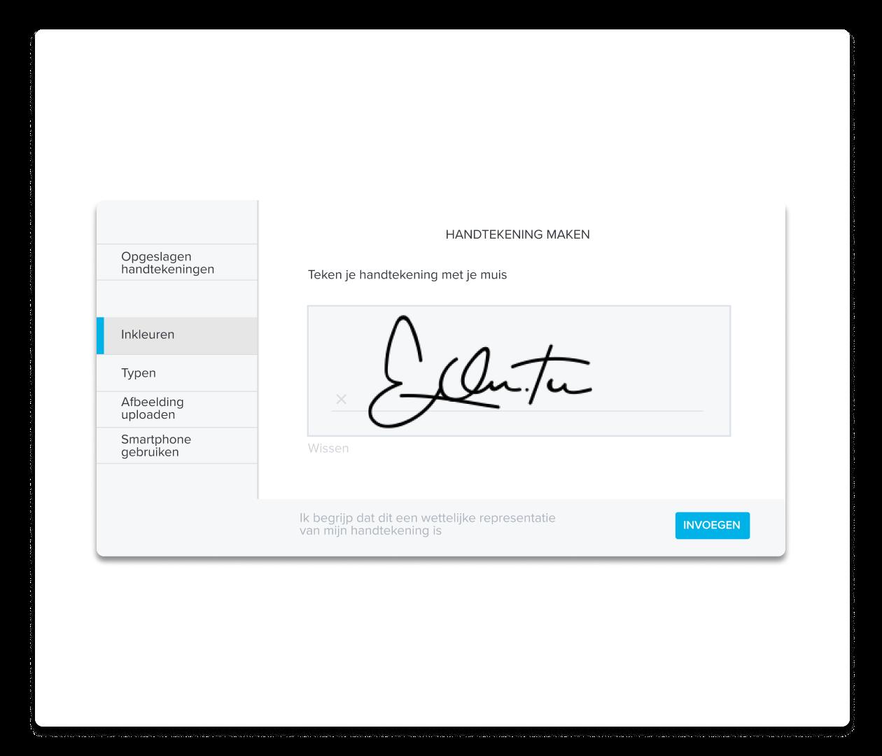 Een screenshot van het maken van een handtekening voor HelloSign