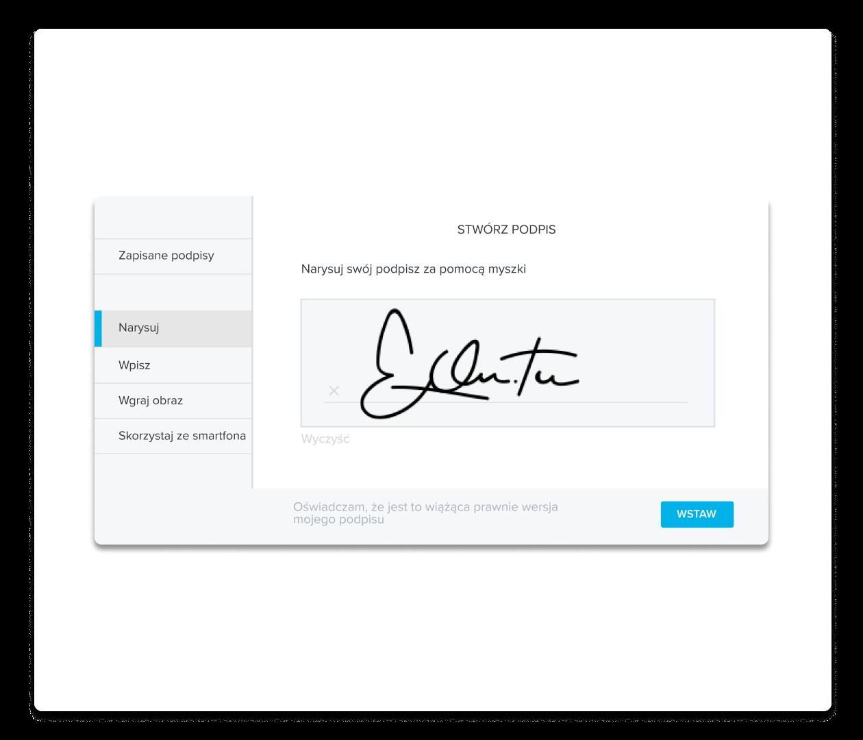 Zrzut ekranu przedstawiający tworzenie podpisu w HelloSign