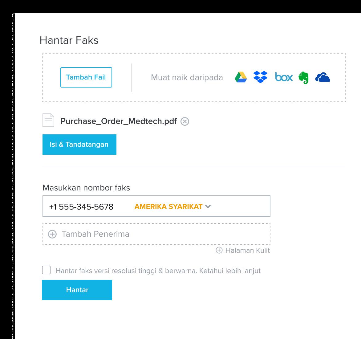Imej produk faks penghantaran HelloFax