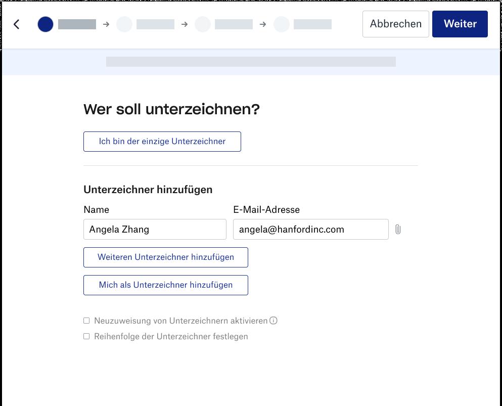 Screenshot des Signaturerlebnisses von Dropbox