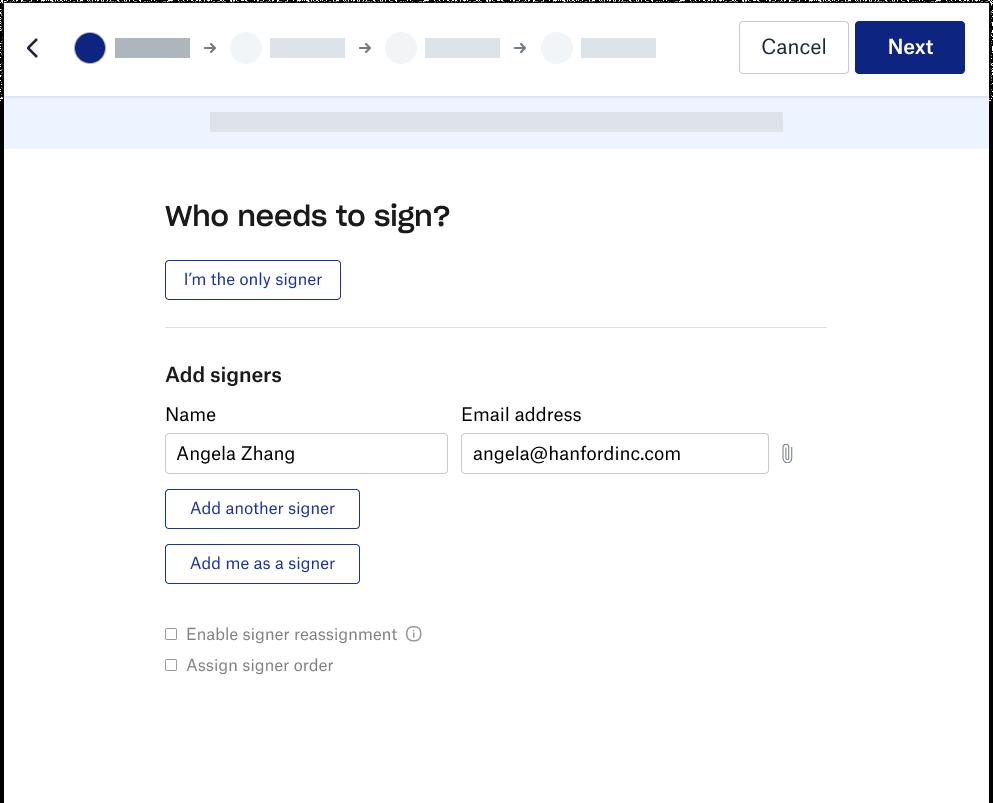 Screenshot of the Dropbox signer experience