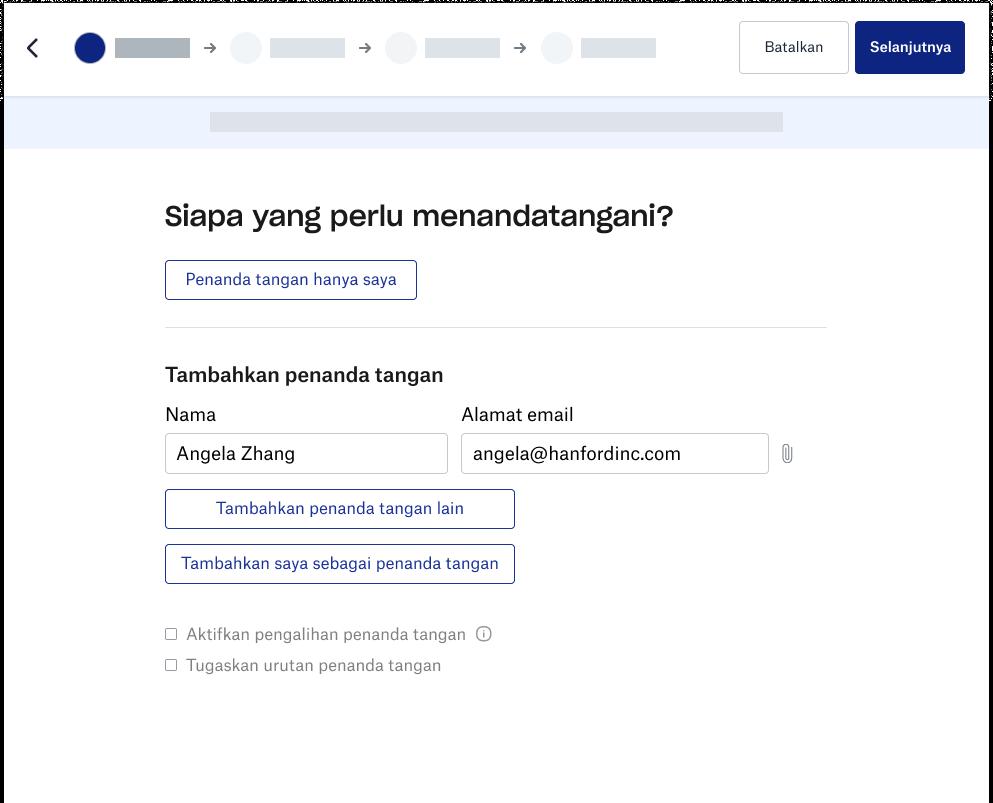 Tangkapan layar pengalaman penanda tangan Dropbox
