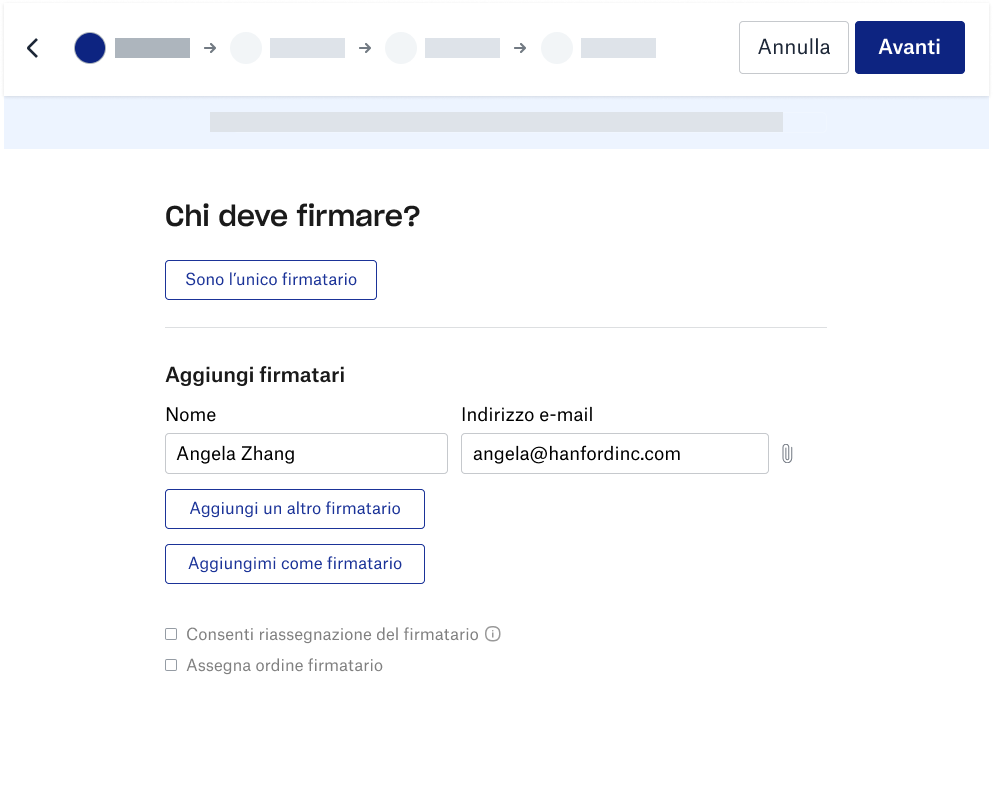 Screenshot dell'esperienza di un firmatario in Dropbox