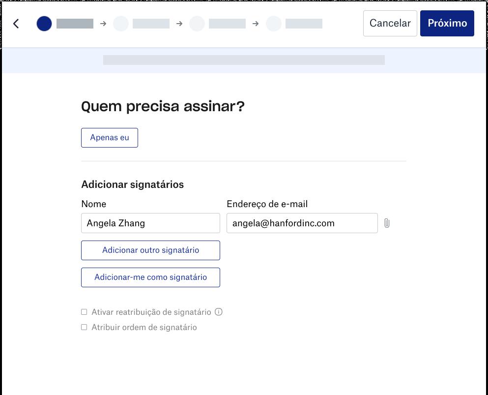 Captura de tela da experiência de signatário do Dropbox