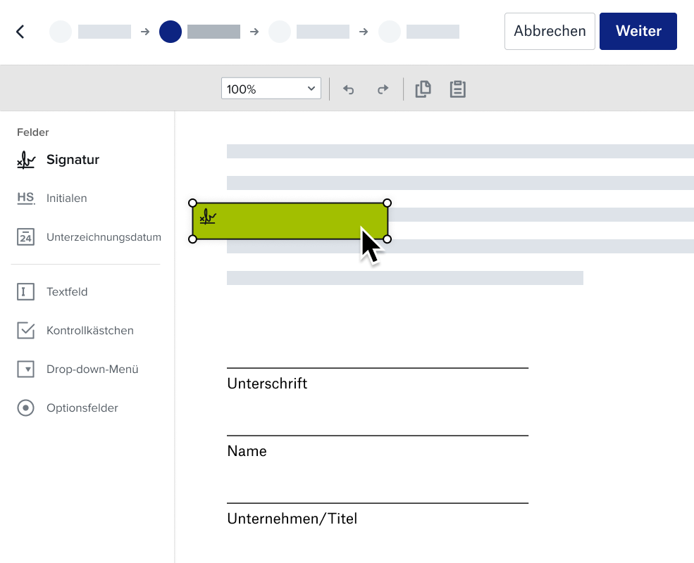 Screenshot des Vorbereitungsdokuments von Dropbox für das Signaturerlebnis