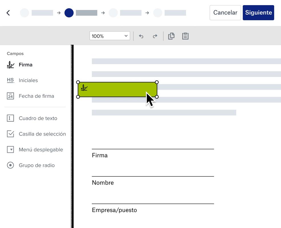 Captura de pantalla del documento de Dropbox preparado para la experiencia de la firma