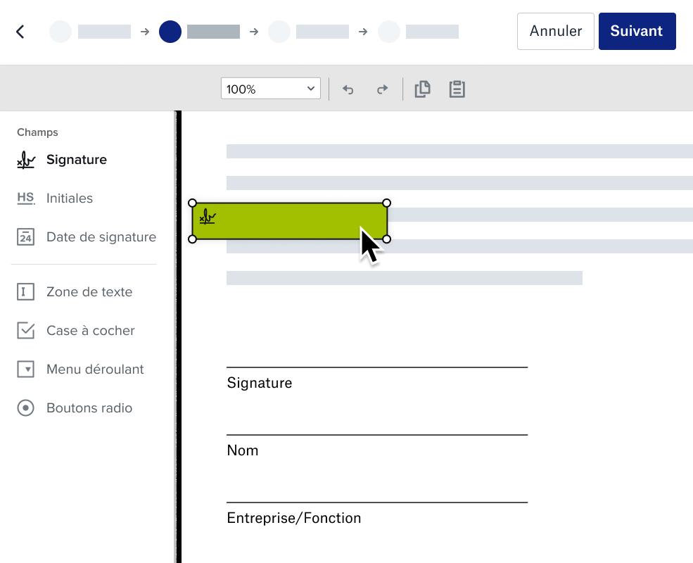 Capture d'écran de la préparation d'un document à signer dans Dropbox