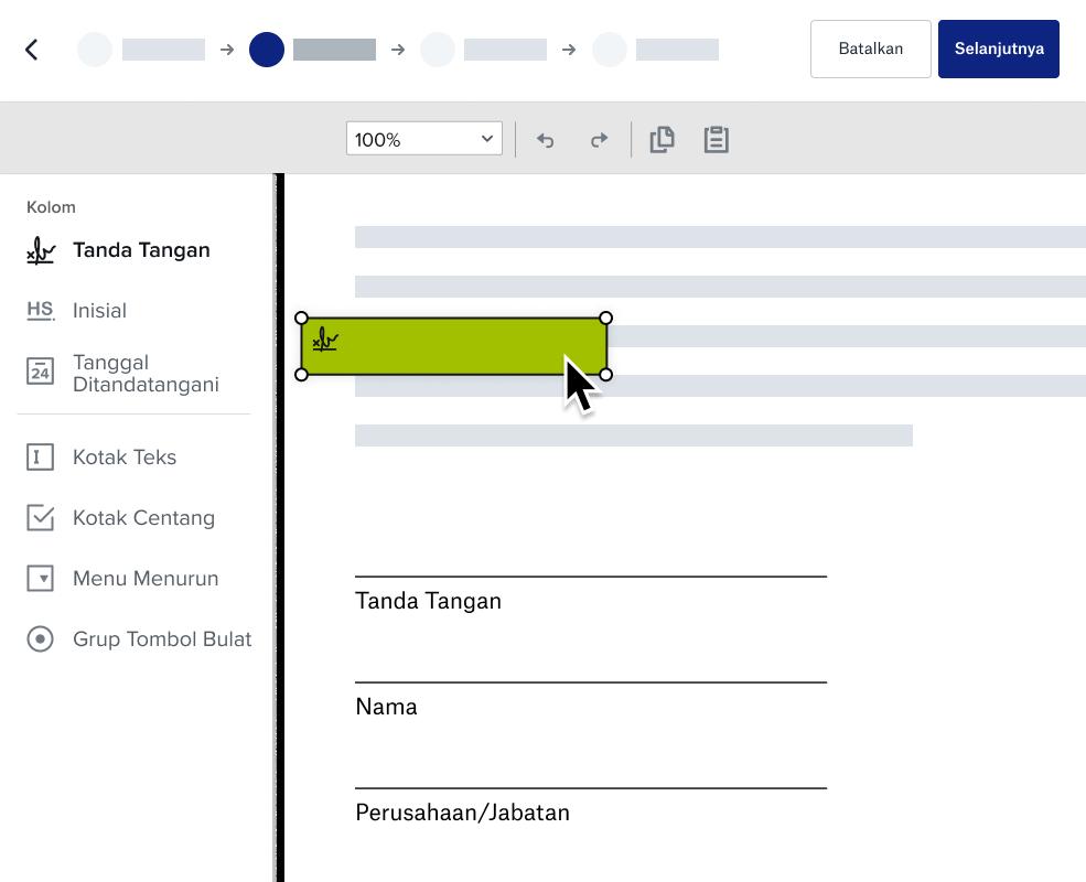 Tangkapan layar pengalaman Dropbox menyiapkan dokumen untuk penandatanganan