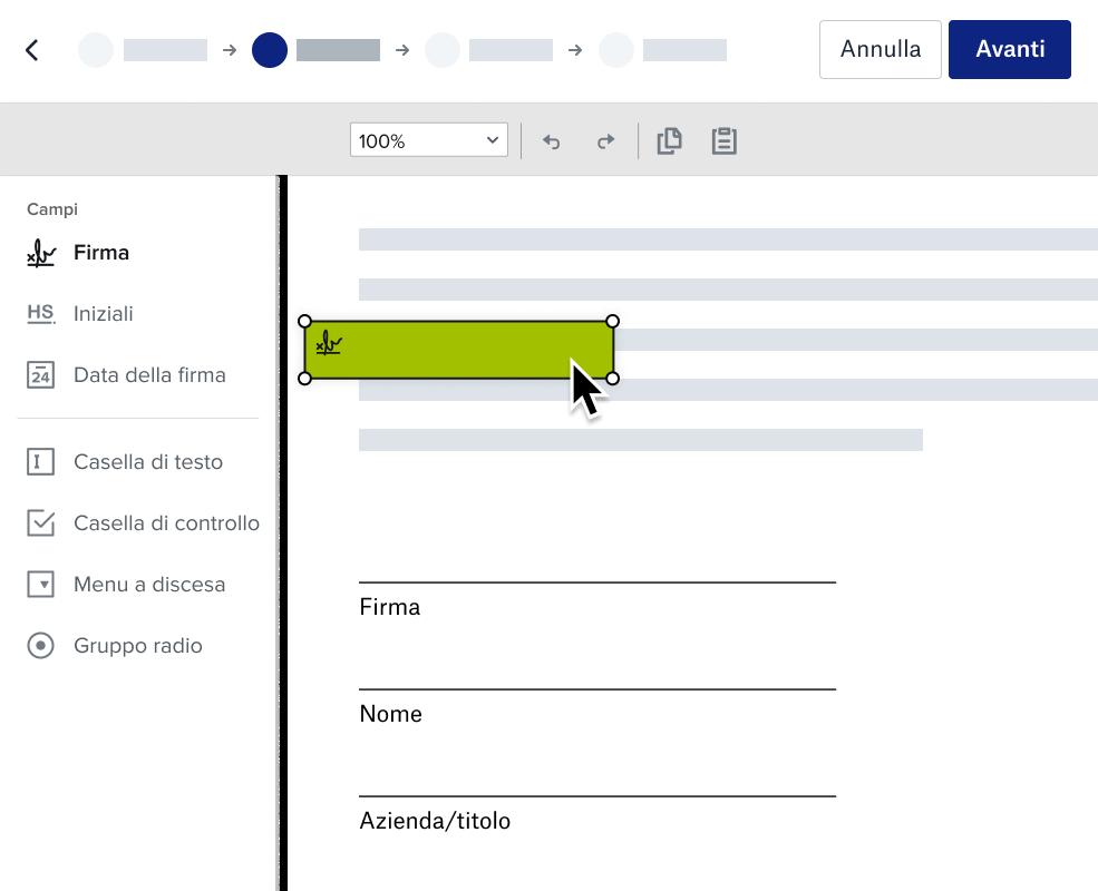 Screenshot della preparazione di un documento Dropbox per l'esperienza di firma