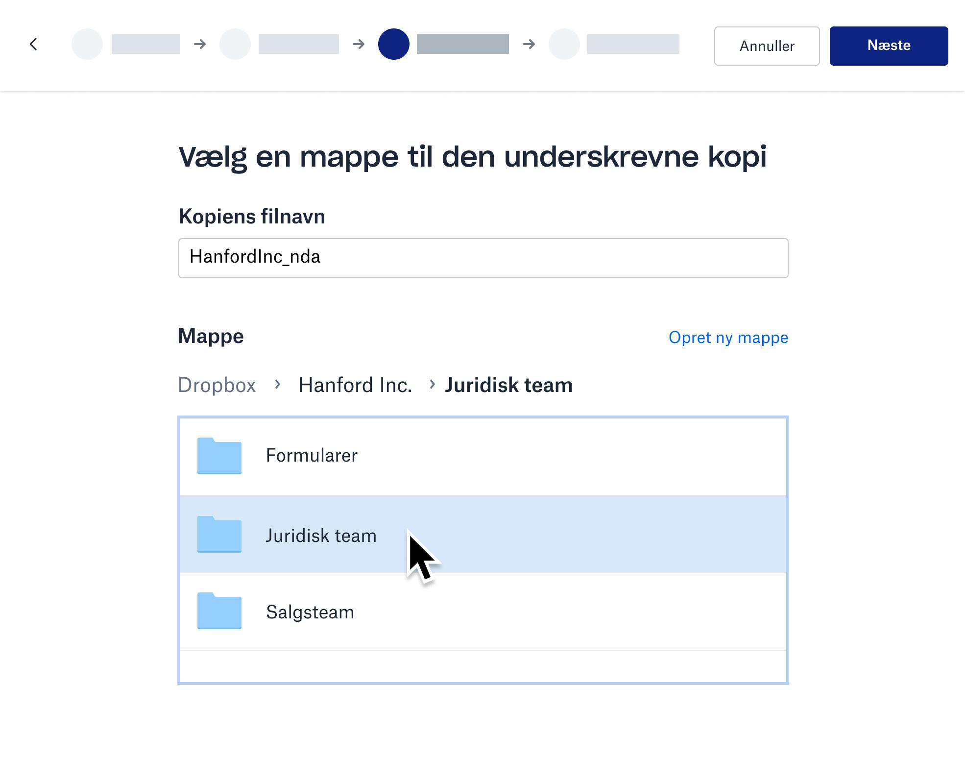Skærmbillede af opbevaring af den underskrevne kopi i en Dropbox-mappe