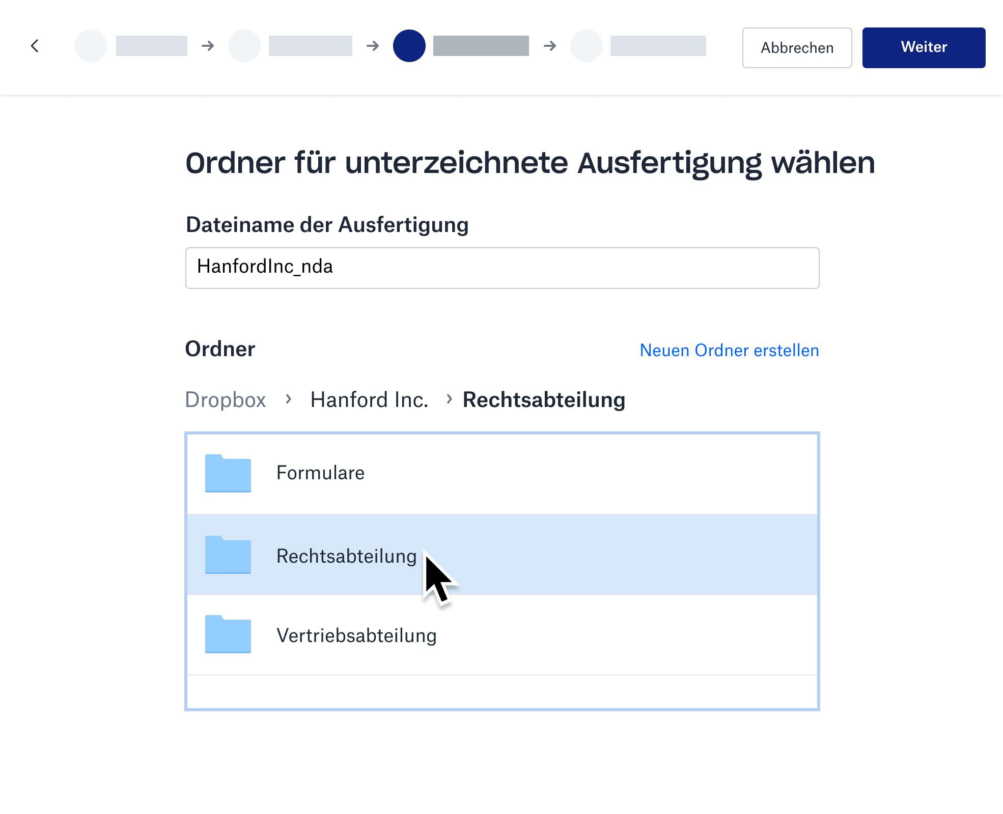 Screenshot vom Speichern eines unterzeichneten Dokuments in einem Dropbox-Ordner