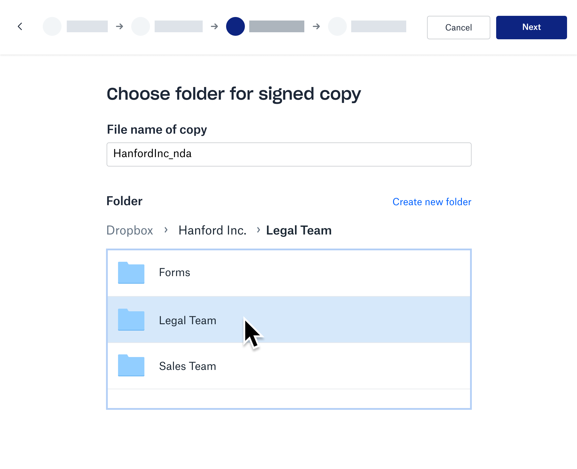 Screenshot of storing the signed copy in a Dropbox folder