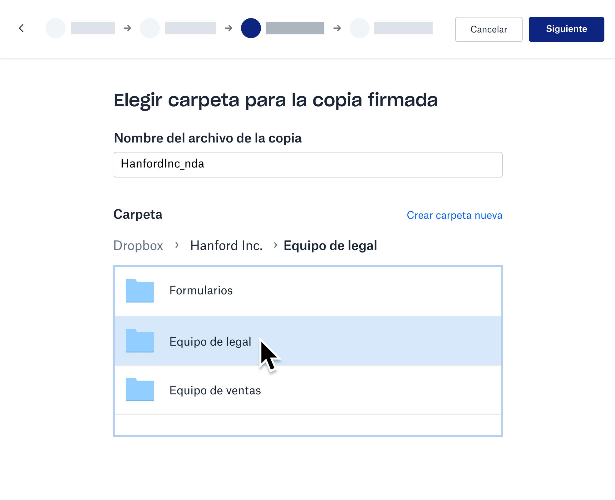 Captura de pantalla del almacenamiento de la copia firmada en una carpeta de Dropbox