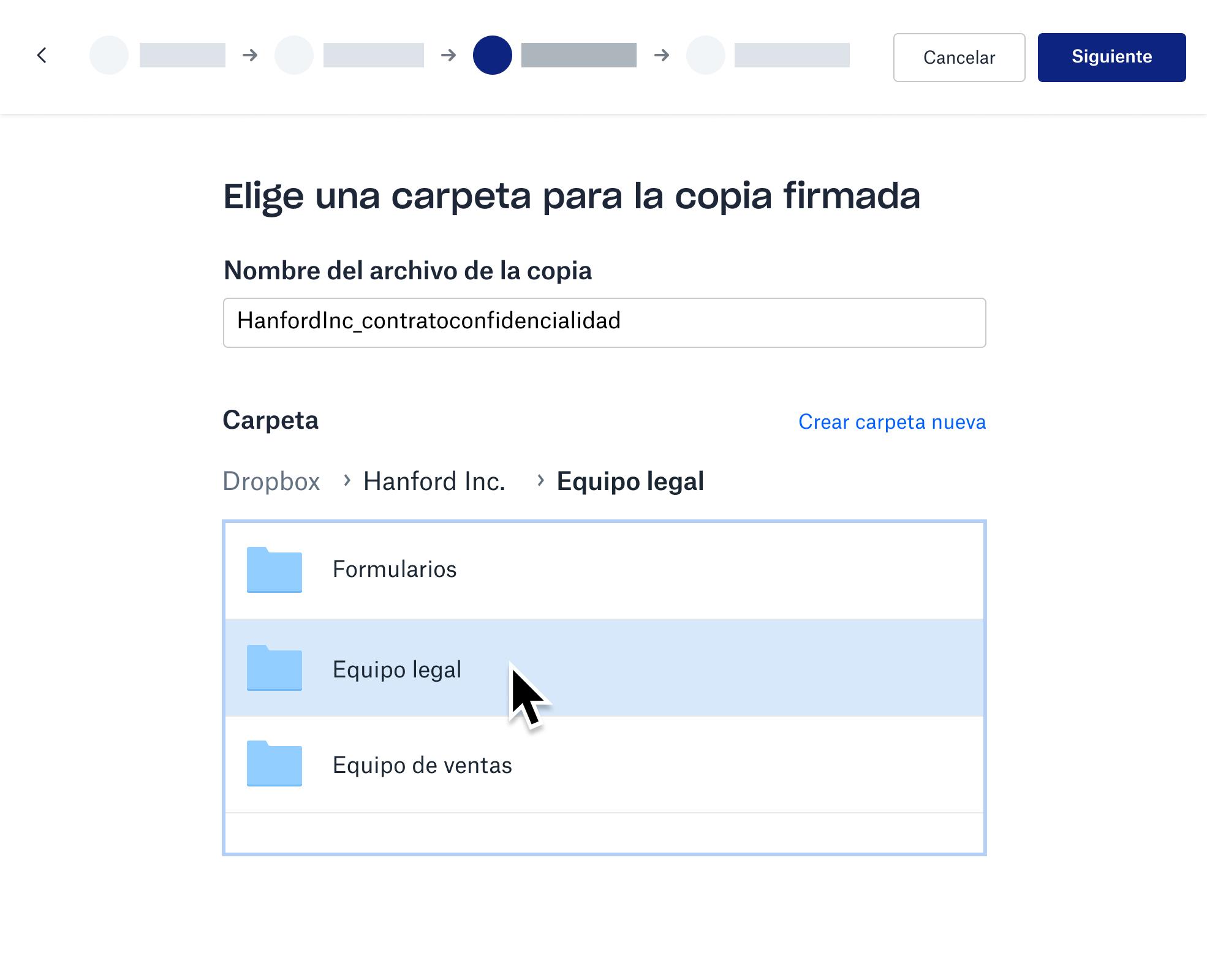 Captura de pantalla de la copia firmada almacenada en una carpeta de Dropbox