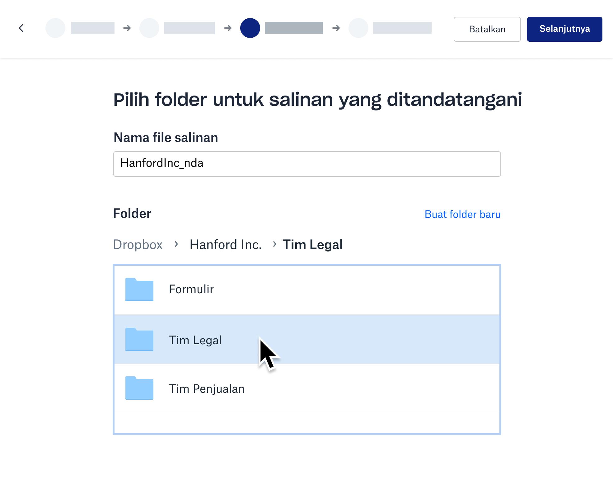 Tangkapan layar menyimpan salinan yang telah ditandatangani di sebuah folder Dropbox