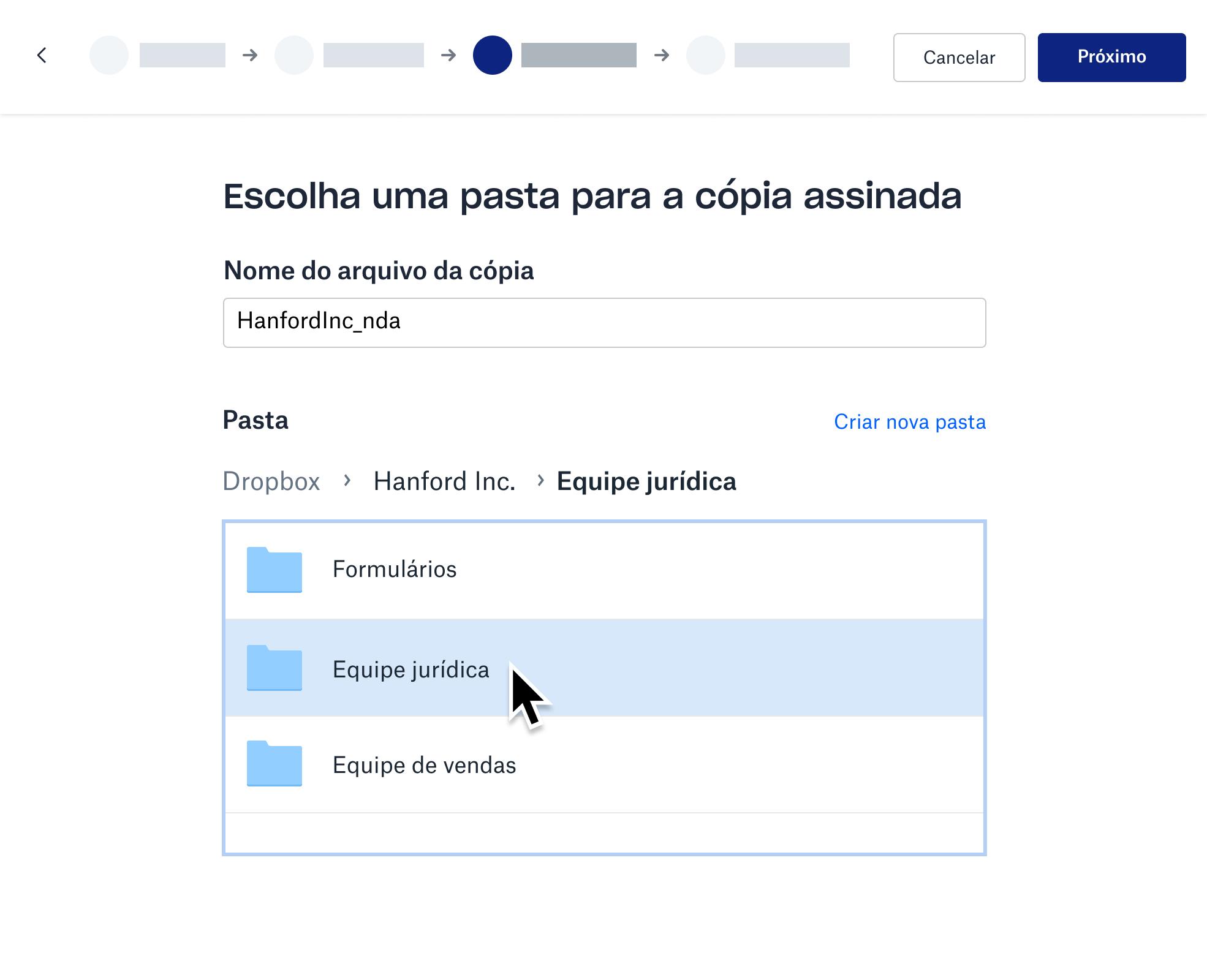 Captura de tela do armazenamento da cópia assinada em uma pasta do Dropbox