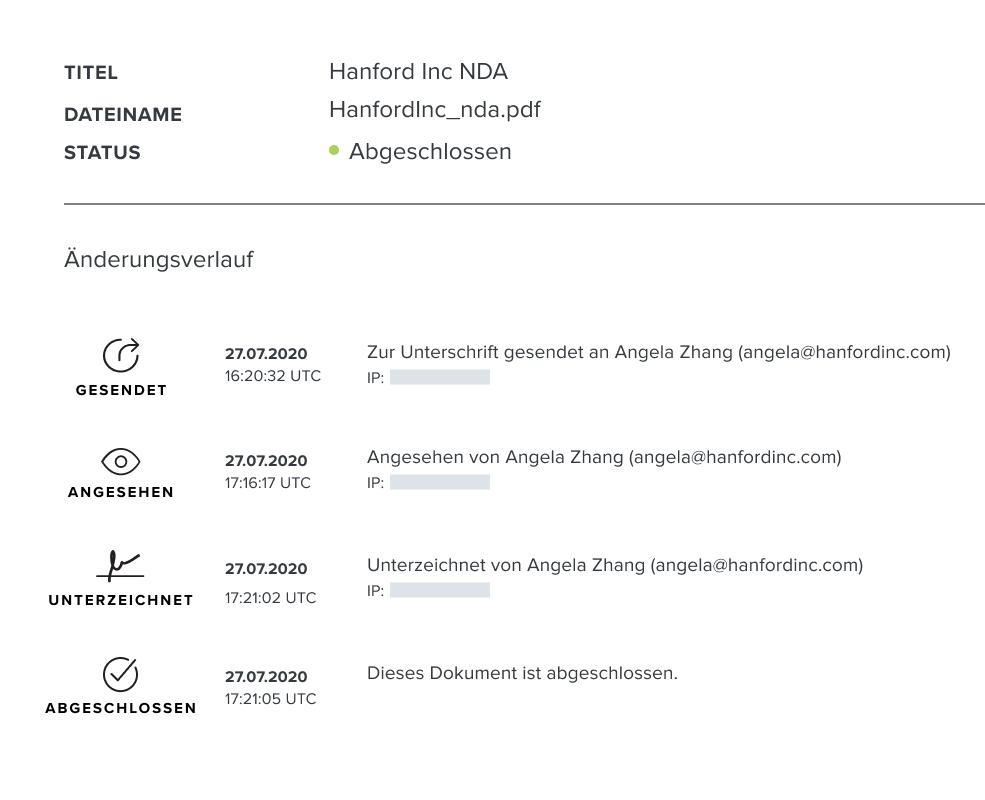 Screenshot des HelloSign-Prüfprotokolls für Dokumente