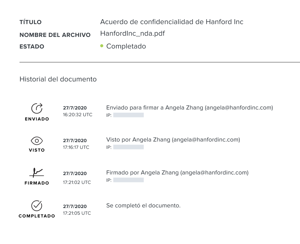 Screenshot of HelloSign document audit trail