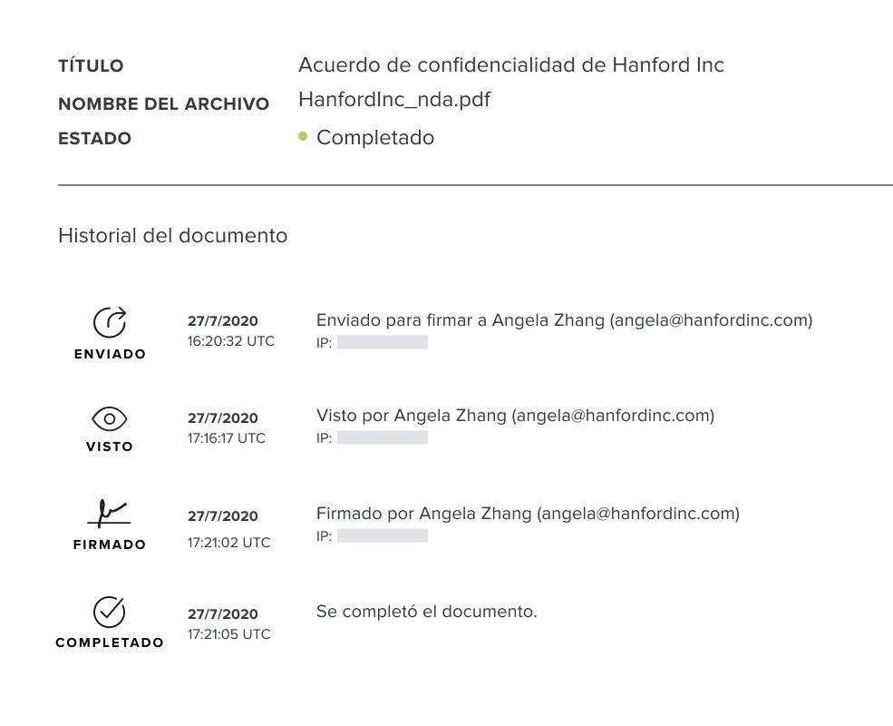 Captura de pantalla del registro de auditoría del documento de HelloSign