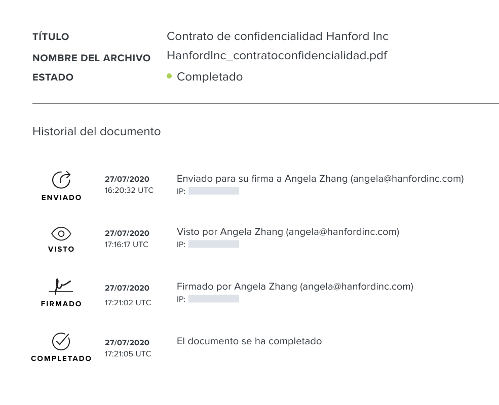 Captura de pantalla del registro de auditoría del documento de HelloSign
