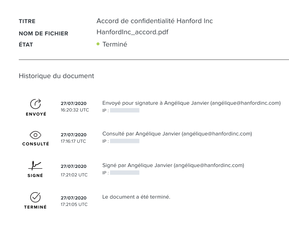 Capture d'écran de la piste d'audit des documents HelloSign