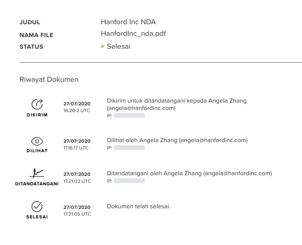 Tangkapan layar jejak audit dokumen HelloSign