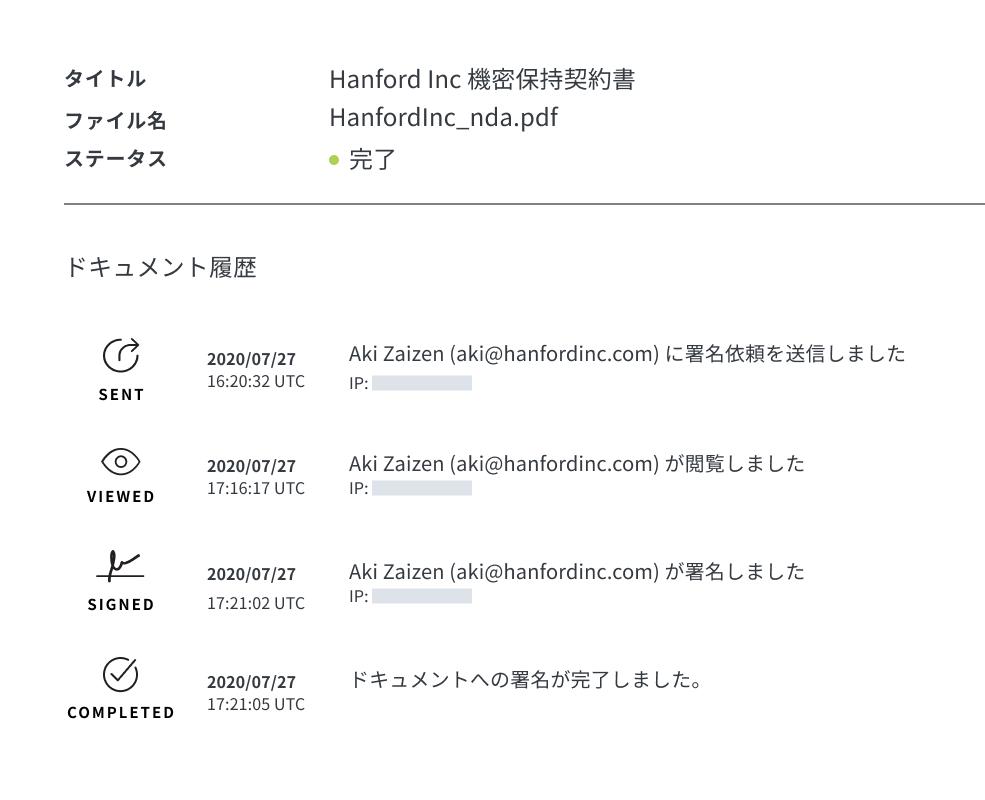 HelloSign ドキュメントの監査証跡のスクリーンショット