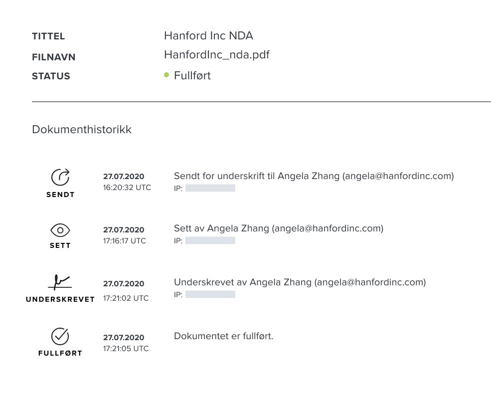 Skjermbilde av HelloSigns dokumenttilsynslogg