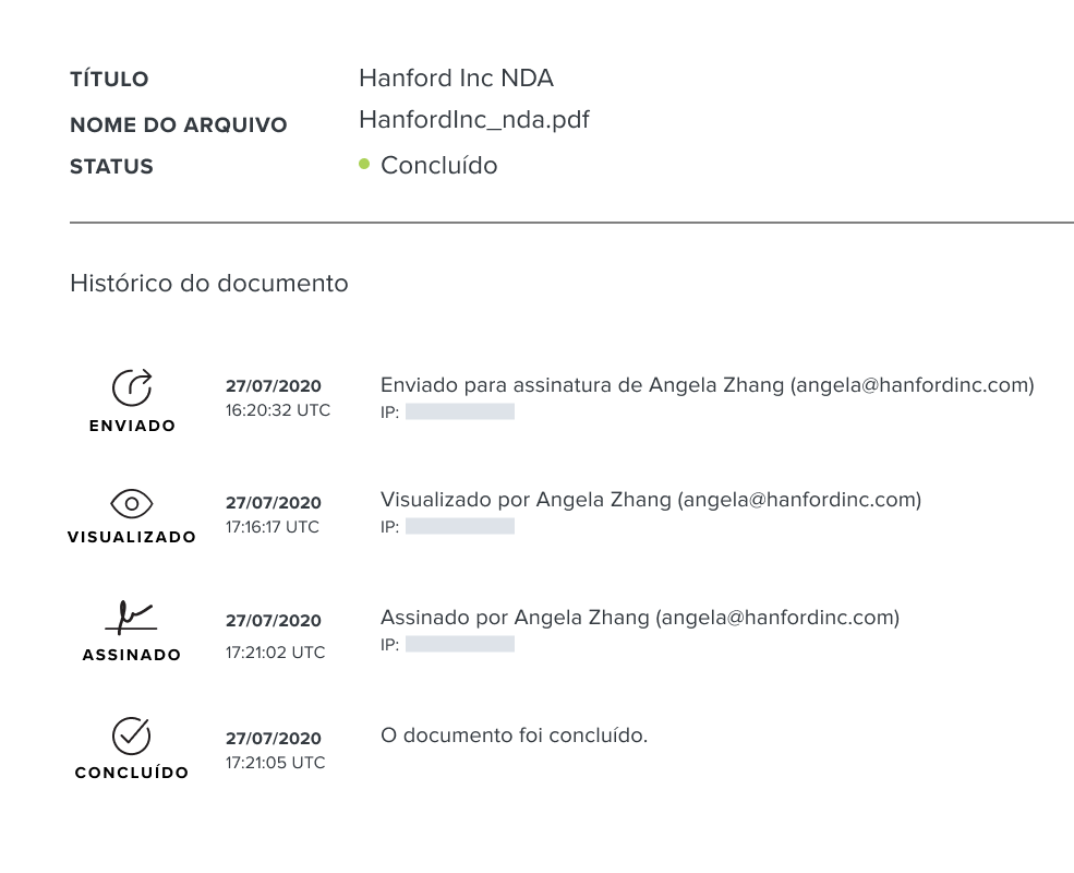 Captura de tela da trilha de auditoria de documentos do HelloSign