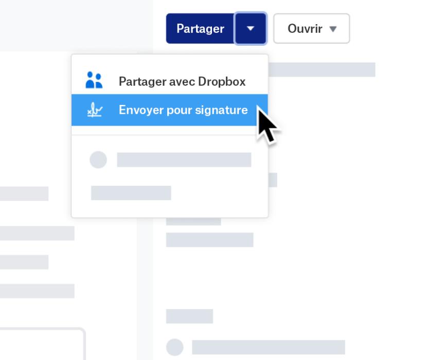 Capture d'écran de la fonctionnalité d'envoi pour signature dans Dropbox