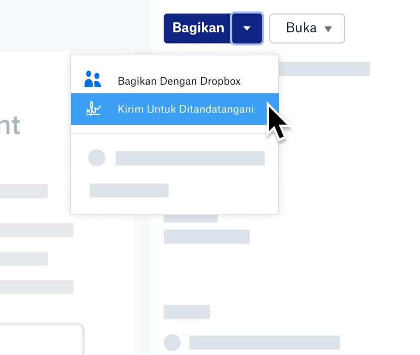 """Tangkapan layar fitur """"Kirim Untuk Ditandatangani"""" di Dropbox"""