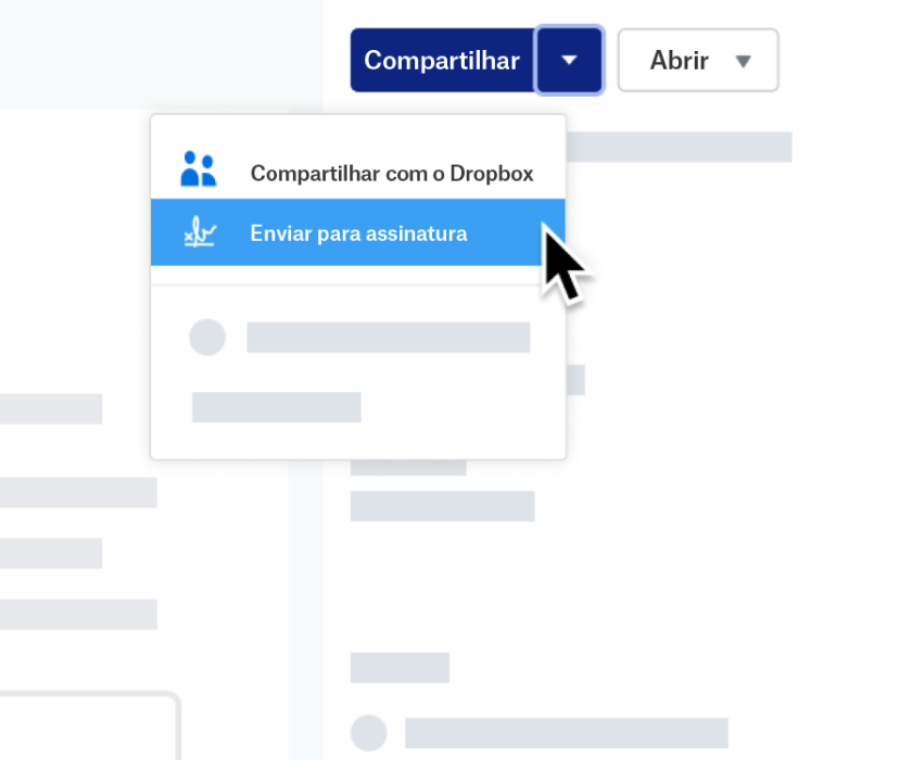 "Captura de tela do recurso ""Enviar para assinatura ""no Dropbox"