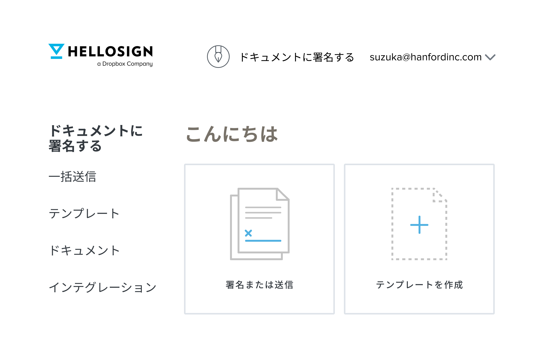ドキュメントへの署名または送信と、テンプレートの作成のオプションが表示された HelloSign トップページの製品ビジュアル